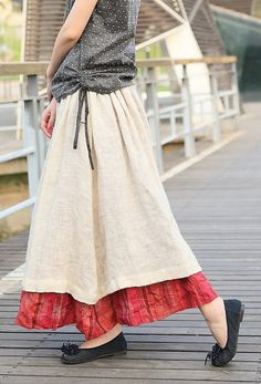 Double layered long linen ruffle skirt in beige and red (# mori girl)