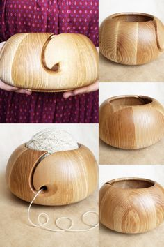Handcarved from Indian Rosewood 7x4 Extra Large Wooden Yarn Bowl