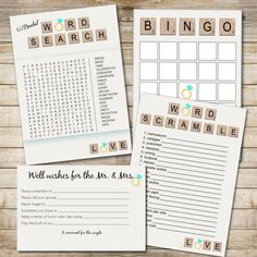 INSTANT DOWNLOAD Bridal Shower game set: Word Search, Bridal Bingo, Word Scramble, Well wishes for the Newlyweds (Printable) by ChelsiLeeDesigns on Etsy https://www.etsy.com/listing/156365685/instant-download-bridal-shower-game-set
