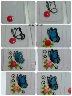 124 Pegatinas y Stickers para Uñas con brillos y figuras – Información imágenes Butterfly Nail Designs, Butterfly Nail Art, Flower Nail Art, Nail Art Designs, 3d Nails, Nail Manicure, Nail Art Modele, Country Nails, Animal Nail Art