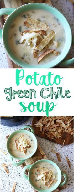 Potato Green Chile Soup - Modern Little Victories - This hearty and delicious green chile and potato soup is a sure fire crowd pleaser. It& creamy and just the right amount of spicy. Best Soup Recipes, Chowder Recipes, Chili Recipes, Potato Recipes, Mexican Food Recipes, Beans Recipes, Hamburger Recipes, Barbecue Recipes, Favorite Recipes
