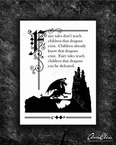 Illuminated Fairy Tale Quote with Dragon Sihlouette on Etsy, $20.00