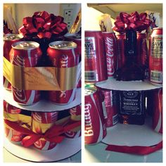 """Jack and Coke """"cake"""" for boyfriend's birthday! :) he loved it."""
