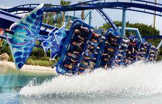 Manta roller coaster at Sea World Orlando. Read more about why it made Best of Orlando's Best Rides list here! Orlando Travel, Orlando Vacation, Orlando Resorts, Scary Roller Coasters, Roller Coaster Ride, Busch Gardens Tampa, Seaworld Orlando, Orlando Florida, Central Florida