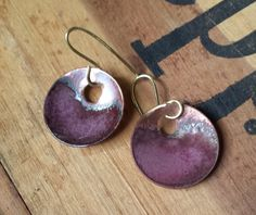 Copper Enamel Hoops by YMBlueOriginals on Etsy, $25.00