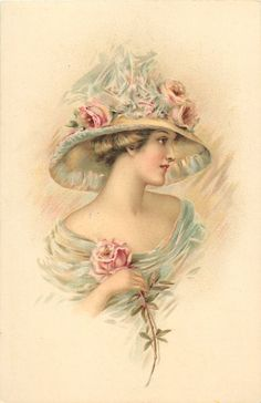 pretty woman in off shoulder blue dress, enormous hat trimmed with roses, single pink rose, looks right