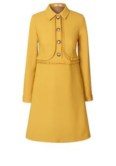Orla Kiely—Wool Blend Suiting Pleated Tunic Mustard