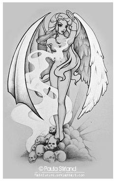 Pin Up Drawings, Girl Drawing Sketches, Dark Art Drawings, Cartoon Drawings, Half Angel Half Demon, Sakimichan Art, Angel Artwork, Lowrider Art, Angel Drawing