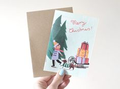 Boy with Sledge  Illustrated Christmas Card by emmablock on Etsy