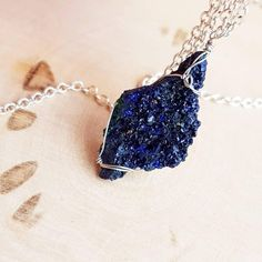 Raw Blue Azurite Necklace Azurite Druzy Necklace October Birthstone... ❤ liked on Polyvore featuring jewelry, necklaces, druzy necklaces, druzy jewelry, birthstone necklace, gemstone jewellery and gem necklaces