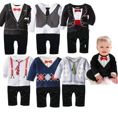 Gentlemens Suit and Tie Baby Romper ~ ONLY $12.00 ~ Buy At: http://www.dashingbaby.com/products/gentlemens-suit-and-tie-baby-romper