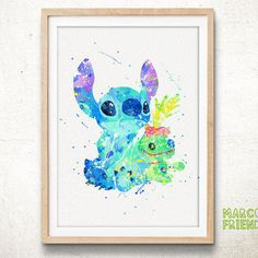 Stitch, Scrump the Doll - Watercolor, Art Print, Home Wall Art, Watercolor Print, Nersery Room, Disney Lilo and Stitch Poster