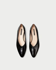 V-CUT LEATHER BALLERINAS-View all-SHOES-WOMAN   ZARA Hungary