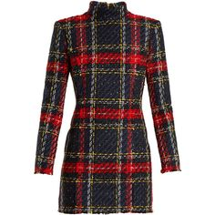 Balmain High-neck checked mini dress (€2.345) ❤ liked on Polyvore featuring dresses, blue multi, long sleeve short dress, blue plaid dress, high neck long sleeve dress, long-sleeve mini dress and mini dress