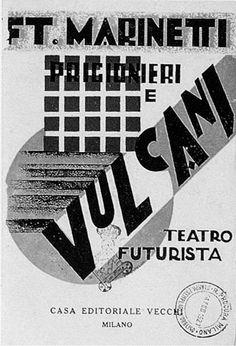 """TEATRO FUTURISTA. Filippo Tommaso Marinetti: """"Prigionieri e Vulcani"""", con scene dinamiche di Enrico Prampolini e intermezzi musicali di Franco Casavola, 1927."""