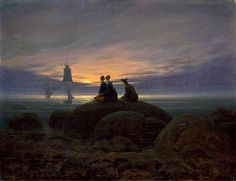 19 Century Romanticism Artists Names | Moonrise over the Sea, 1822, Caspar David Friedrich
