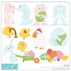Easter Clip Art    Digital Clip Art  Commercial Use by StudioCinCo, $5.95