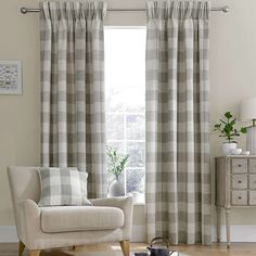Skye Natural Eyelet Curtains : Dunelm Check Fully Lined Light Brown Skye Eyelet Curtains (W x Drop Pleated Curtains, Valance, Farmhouse Curtains, Farmhouse Decor, Kitchen Curtains, Farmhouse Style, Curtains Dunelm, Quartos, Interiors