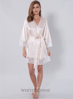Sibella Robe. Soft and silky Homebodii bridesmaid dress robe with lace detailing on the sleeves and hem. Perfect for Make-up and Hair application on the Wedding Day or just to have whilst getting ready! Please measure your Bust for the best fit.