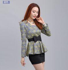 Women Blouses New Vintage Print Woman Shirt Blusas Plus Size Long Sleeve Lady Tops Tunic Femininas Red,Black,Blue,Red,Beige
