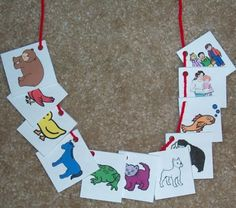 Brown Bear Brown Bear, what do yo see? Make a necklace with the pictures of the characters to retell this Eric Carle's story
