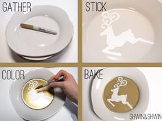 OMG gold sharpie stencil-y ceramic plate tutorial! need to have a craft day & make like a million!