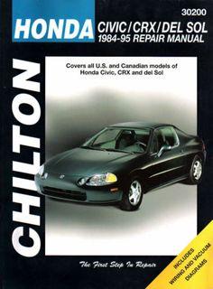 HONDA CIVIC/CRX/DEL SOL 1984-95 CHILTON REPAIR MANUAL #30200 ISBN 0-8019-8683-4