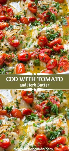 Best Cod Recipes, Baked Cod Recipes, Baked Tomato Recipes, Best Seafood Recipes, Free Recipes, Roasted Cod, Roasted Garlic, Fish Dinner, Cooking Recipes