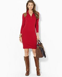 Lauren Ralph Lauren Mock Neck Dress with Faux-Suede Detail | Bloomingdale's