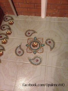 Kundan rangoli tealight candle decoration handmade by Opulence. Also great for wedding decorations.  OpulenceHQ@outlook.com