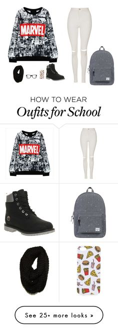 """school"" by christieirishgirl on Polyvore featuring Topshop, Timberland, Herschel Supply Co., Muse and Paula Bianco"