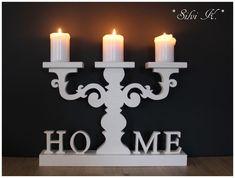 erhältlich hier:  https://de.dawanda.com/product/77562351-kerzenleuchter-home-46cm-x-28cm-weiss Silvi K., Handarbeit aus Holz, Kerzenleuchter, Leuchter, Home, Schriftzug