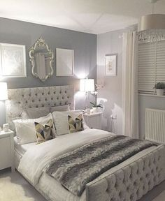 Silver bedroom decor, master bedroom grey, grey and white room, grey room d Grey Bedroom Design, Bedroom Designs, Silver Bedroom Decor, Silver And Grey Bedroom, Bed Design, Silver Room, Silver Bedding, Design Set, House Design