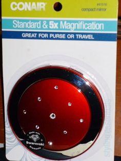 NEW CONAIR Red Compact Mirror Standard 5x Magnification Swarovski Rhinestones  #CONAIR