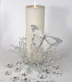 Great looking candle holder for a reception. www.djboogieshoes.com / www.karaokedjservices.ca