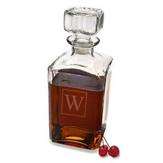 Store your favorite whiskey or bourbon in our Personalized Glass Decanter that features a beautiful square design as well as the initial of the recipient.