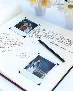 Guest book. Insert self-adhesive photo corners prior to the wedding so guests can easily slip pictures into place.