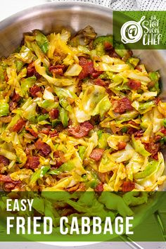 This fried cabbage is delicious and super easy to make with a few ingredients. It comes together in less than 30 minutes! #friedcabbage Side Dish Recipes, Vegetable Recipes, Easy Dinner Recipes, Vegetarian Recipes, Cooking Recipes, Healthy Recipes, Vegetable Ideas, Chef Recipes, Easy Dinners