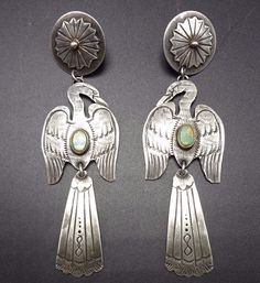 RARE Vintage NAVAJO Sterling Silver & TURQUOISE EARRINGS Water Bird