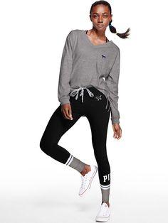 Cotton Lace-Up Campus Legging - PINK - Victoria's Secret