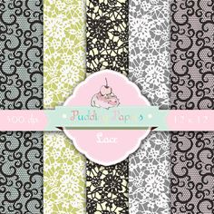 Lace digital paper : Lace digital lace patterns by puddingpapers