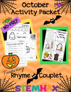 Halloween Activity Packet - October Theme Featuring Couplet / Rhyme