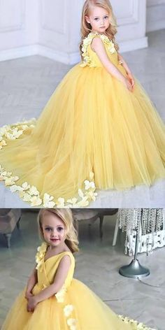V-Neck Sweep Train Yellow Tulle Flower Girl Dress with Flowers,Cheap Flower Girl Dresses, Shop plus-sized prom dresses for curvy figures and plus-size party dresses. Ball gowns for prom in plus sizes and short plus-sized prom dresses for Yellow Flower Girl Dresses, Tulle Flower Girl, Tulle Flowers, Flower Dresses, Yellow Dress, Girls Dresses, Flower Girls, Yellow Maxi, Homecoming Dresses