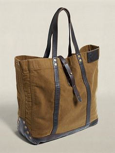 Ralph Lauren Leather Canvas Tote Green Yellow
