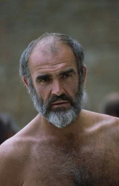 Sean Connery in Robin and Marian Bald Men With Beards, Grey Beards, Hairy Men, Sean Connery, James Bond, Film Man, Scottish Actors, Bear Men, Hairy Chest