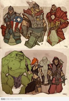 So, this looks sorta like it could be the wow-avengers. Personally black widow should be a blood elf assassin.