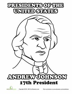 andrew johnson coloring page james madisonpresidents