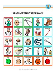 Dental Office Vocabulary for better understanding and communication before, during and after visits to the dentist!