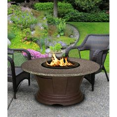 """Round Pebble Granite Top Fire Pit - San Simeon https://www.studio9furniture.com/outdoor/fire-pits-bowls-glass/high-quality-fire-pits-fire-pit-tables/san-simeon-round-fire-pit--pebble-granite-top  This is an honestly one of the best models that has 24"""" high with granite and high quality durable resin in rich brown color."""