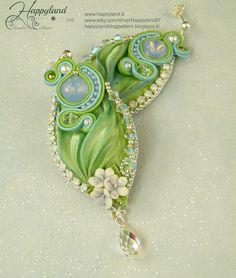 Capodimonte and shibori earrings , on Etsy https://www.etsy.com/listing/194889256/capodimonte-earrings-with-shibori-ribbon?